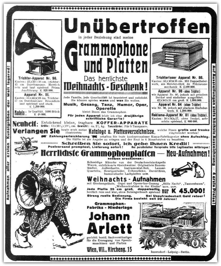 Foren / Grammophone - Schriftmaterial / Grammophon Werbung von 1921 ...